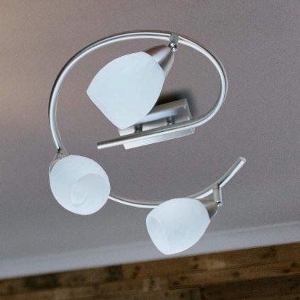 Libra stropní svítidlo spirála kov bodovky sklo tři G9 nikl mat obchod svitidla pikomal
