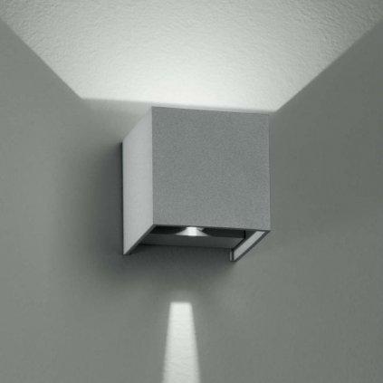 LED W ALFA 6W nástěnné svítidlo venkovní na zeď IP54 stříbrné LED obchod svitidla pikomal