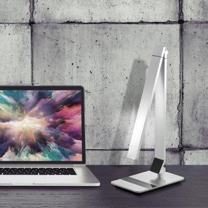 Stolní lampa na psací stůl pracovní LED obchod svitidla pikomal stříbrná stmívací studené a teplé světlo