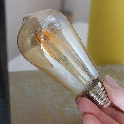 E27 HRUSKA 6W 2700K žárovka patice zlata banka