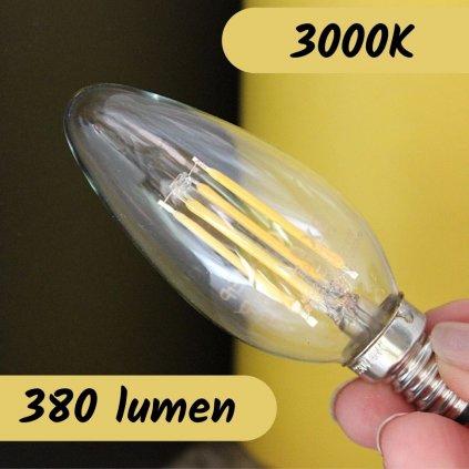 E14 LUXE 4W 3000K žárovka patice 380lumen svíčka čirá