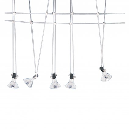 1744-LED TRACK & SPOT 5xGU5.3 lankový systém nikl