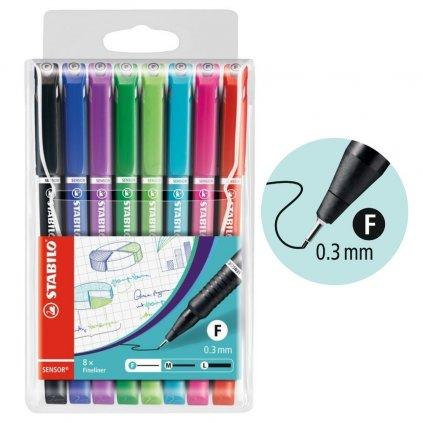 Stabilo sensor f barva na psaní tenkou čarou stabilo obchod pikomal dagmar toušková sada 8 barev