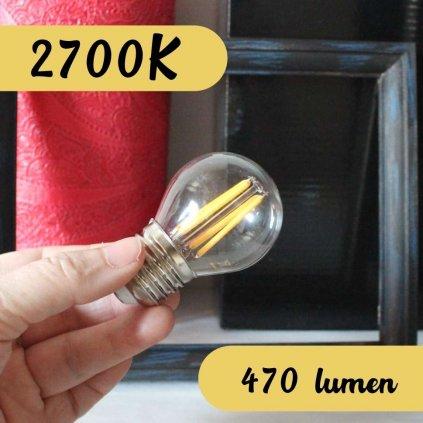 Žárovka E27 golf led 470lumen 2700K skleněná obchod svitidla pikomal