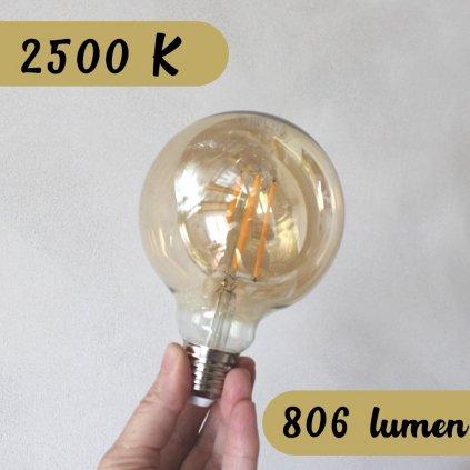 dekorativní žárovka LED 2500K 806lumenů obchod svitidla pikomal koule
