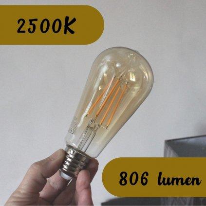 E27 zlata hruska LED 8W amber sklo obchod svitidla pikomal
