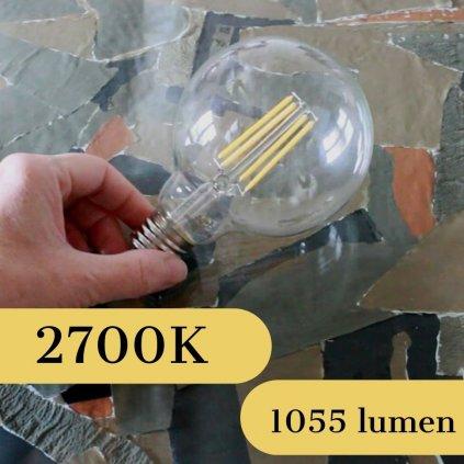 E27 čirá koule LED 8W sklo obchod svitidla pikomal dekor