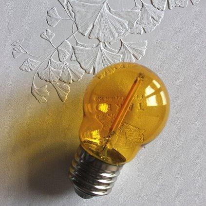 E27 žárovka tvar kulička dekorativní 1,4W žlutá LED obchod svitidla pikomal
