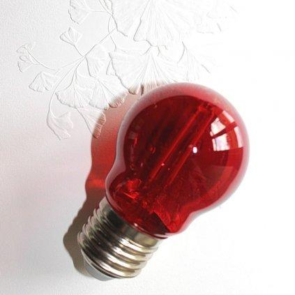 E27 žárovka tvar kulička dekorativní 1,4W červená LED obchod svitidla pikomal
