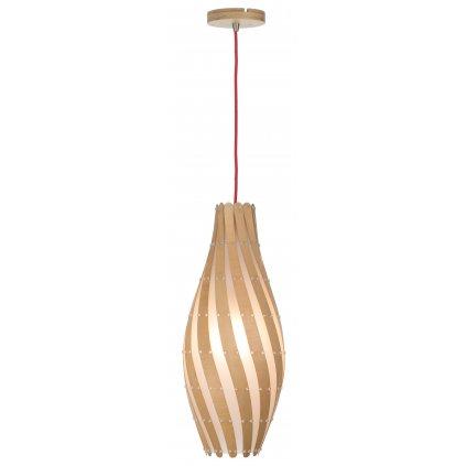 15069 SWIRL závěsné dřevěné svítidlo přírodní barvy s fólií