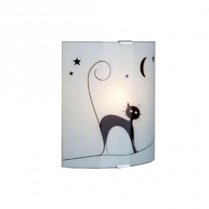 05910/75 přisazené na stěnu 1xE27 bílé sklo a kočka