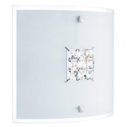 2150-30 FLUSH přisazené stropní svítidlo 2xE27 hranaté sklo s dekorem čtverečků křišťálu