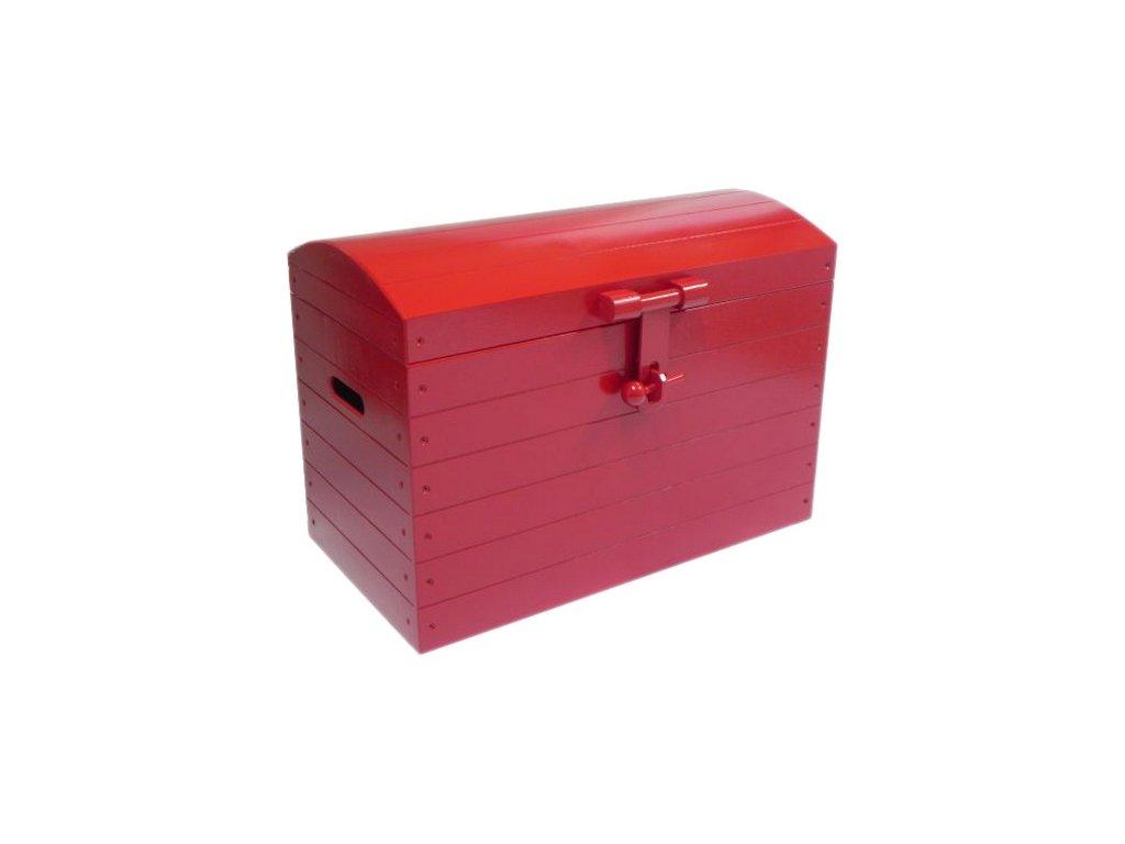 truhla na hračky pirátská červená velká 001