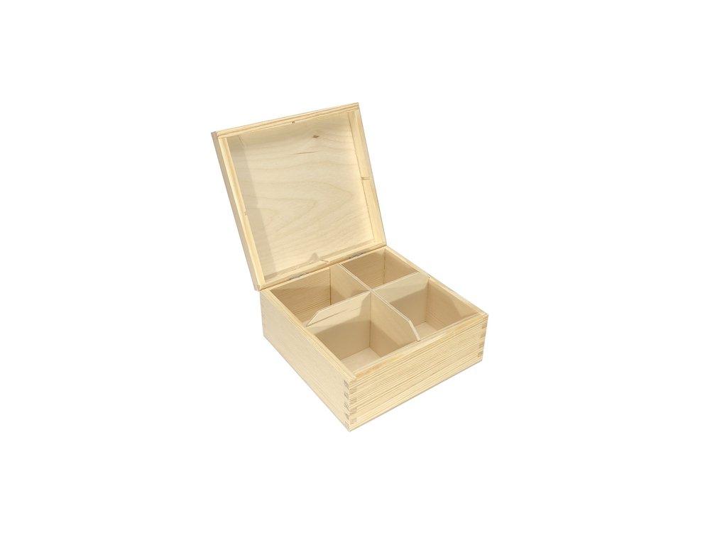 krabička na čaj 4 přihrádky 16,5x16,5x8 cm 001