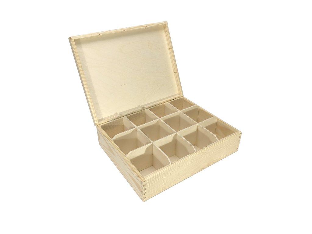 krabička na čaj 12 přihrádek 29x22,5x8 cm 001