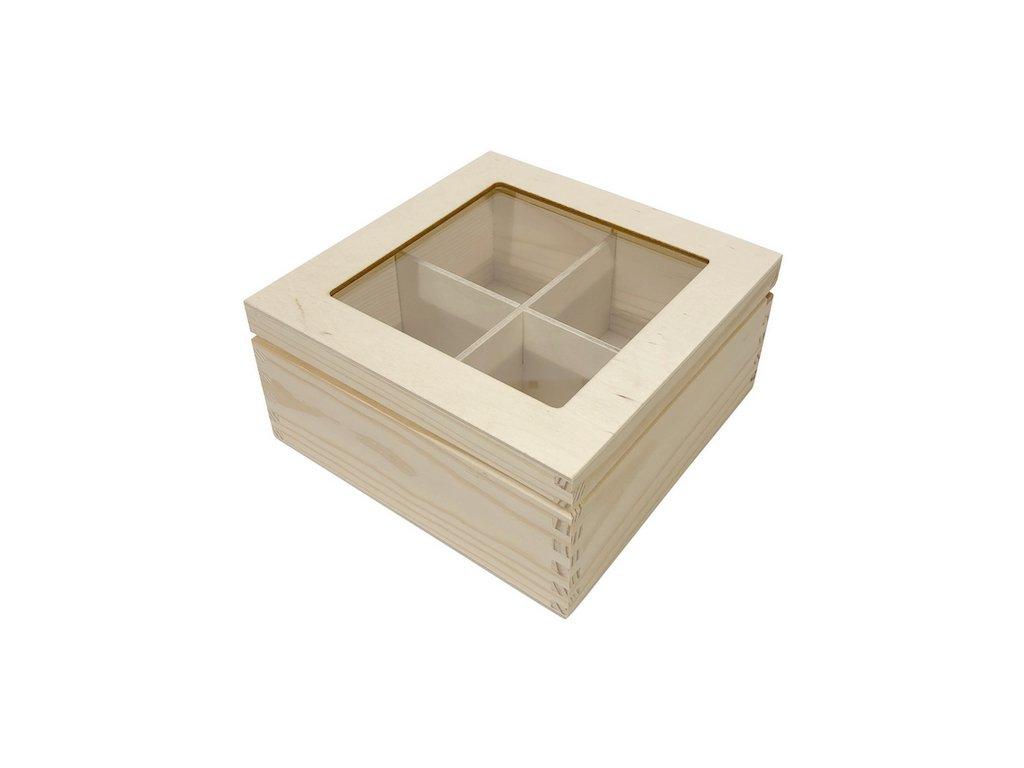 krabička na čaj prosklená 4 přihrádek 002