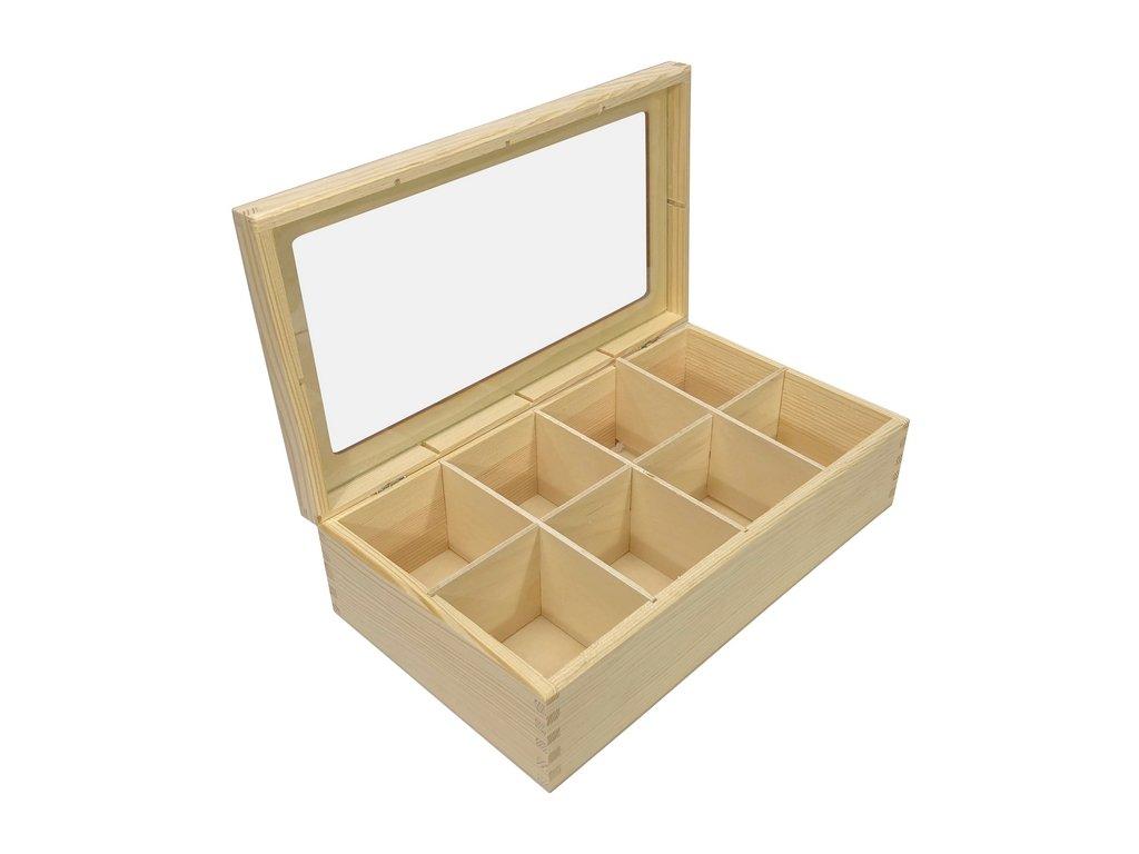 krabička na čaj prosklená 8 přihrádek 001