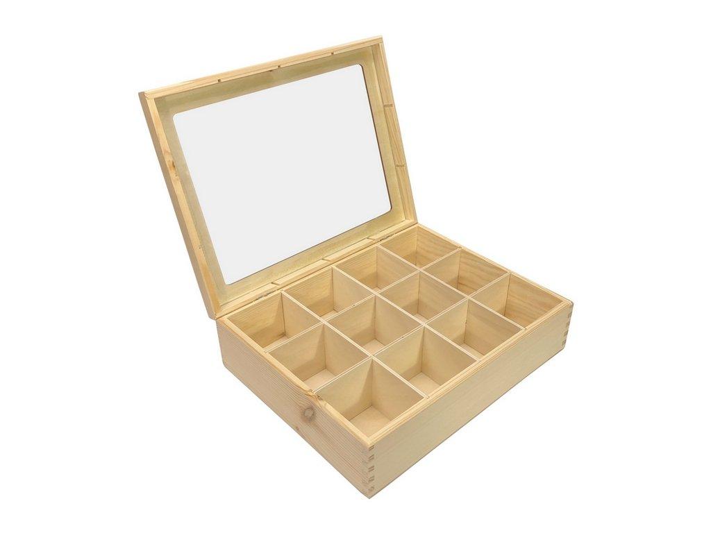 krabička na čaj prosklená 12 přihrádek 001