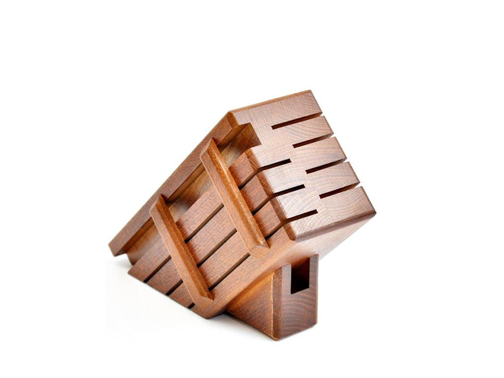 Dřevěný blok pro 7 nožů a ocílku - tmavý