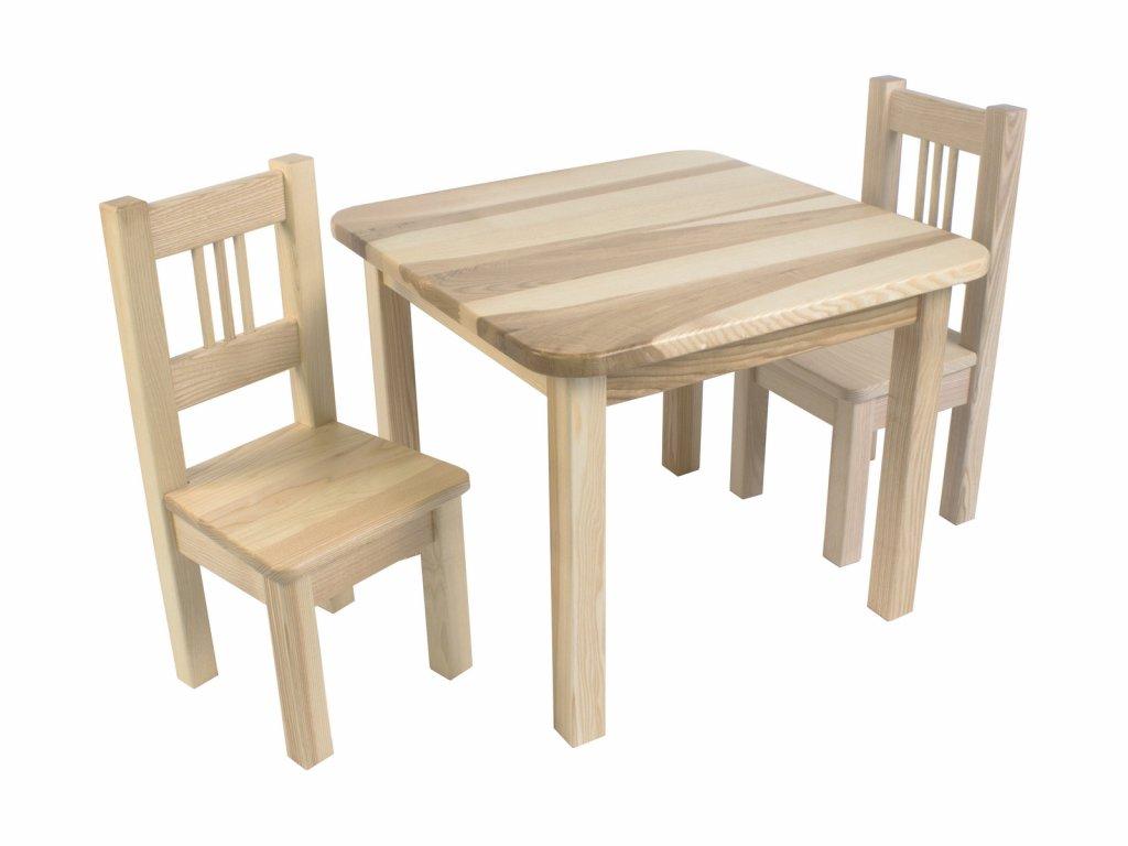 Dřevotéka Dětský stůl a 2 židle BORNE natur