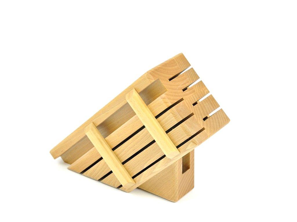 Dřevěný blok pro 7 nožů a ocílku - světlý