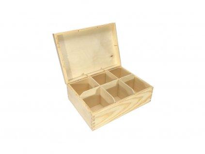 krabička na čaj 6 přihrádek 21,5x16x8 cm 001