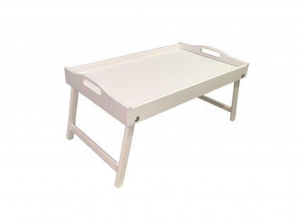 Dřevěný stolek do postele 50x30 cm bílá