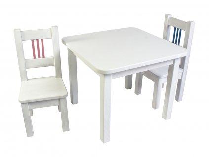 Dřevotéka Dětský stůl a 2 židle BORNE bílý