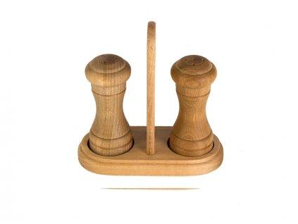 Dřevěná slánka a pepřenka se stojanem