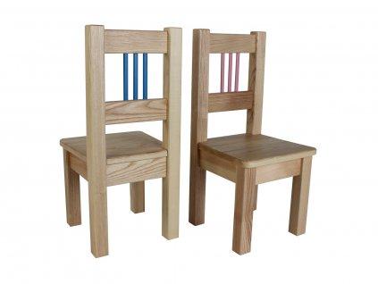 Dřevotéka Dětská židle BORNE modrá/růžová set 2 ks