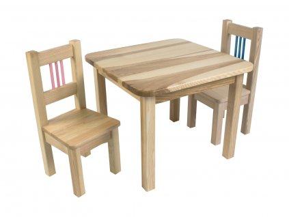 Dřevotéka Dětský stůl a 2 židle BORNE modrá/růžová