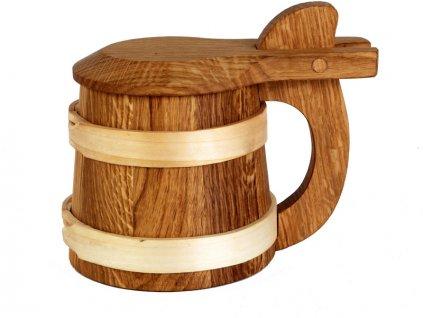 Dřevěný korbel s víkem