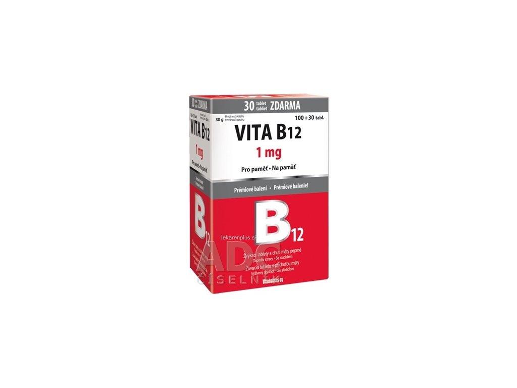 Vitabalans VITA B12 1 mg žuvacie tablety s príchuťou mäty 100+30 zdarma (130 ks)