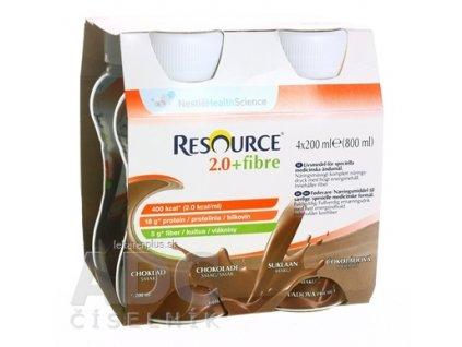 RESOURCE 2,0+ Fibre Čokoládová príchuť sol 4x200 ml (800 ml)