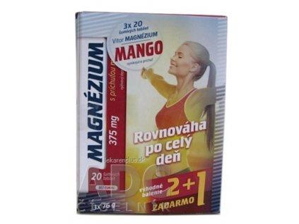 VITAR MAGNÉZIUM 375 mg tbl eff s príchuťou manga (2+1 zadarmo) 3x20 (60 ks), 1x1 set