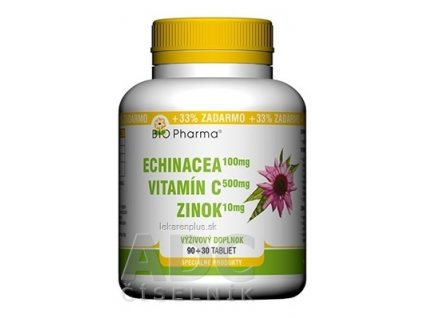 BIO Pharma Echinacea, Vitamín C, Zinok tbl 90+30 (33% ZADARMO) (120 ks)