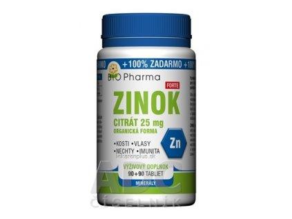 BIO Pharma ZINOK CITRÁT Forte 25 mg tbl 90+90 (100% ZADARMO) (180 ks)