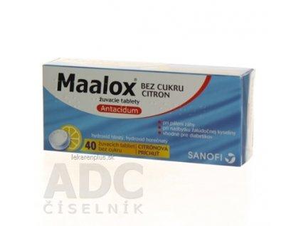 Maalox bez cukru s príchuťou citróna tbl mnd 400 mg/400 mg (blis.) 1x40 ks