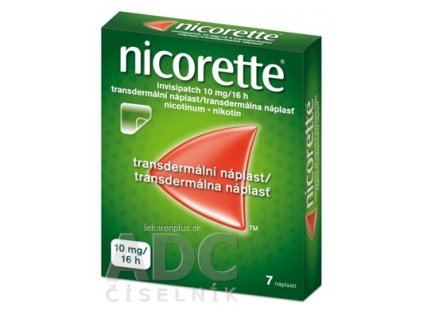 Nicorette invisipatch 10 mg/16 h transder. náplasť emp tdm (vre.koextr.cykloolef.kopolymér) 1x7 ks