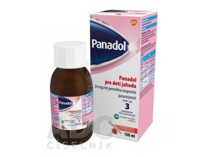 PANADOL PRE DETI JAHODA 24 mg/ml sus por (fľ.skl. hnedá+8 ml aplikátor) 1x100 ml