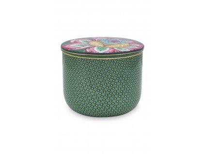 Porcelánová dóza na vatové tamponky zelená