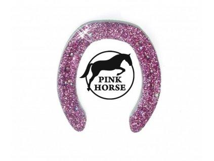 Glitter podkova - růžová