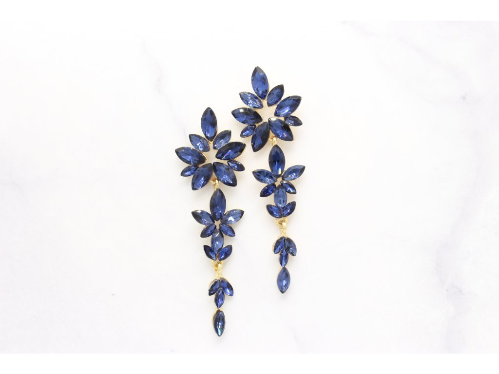 Kamienkové náušnice Flower dark blue