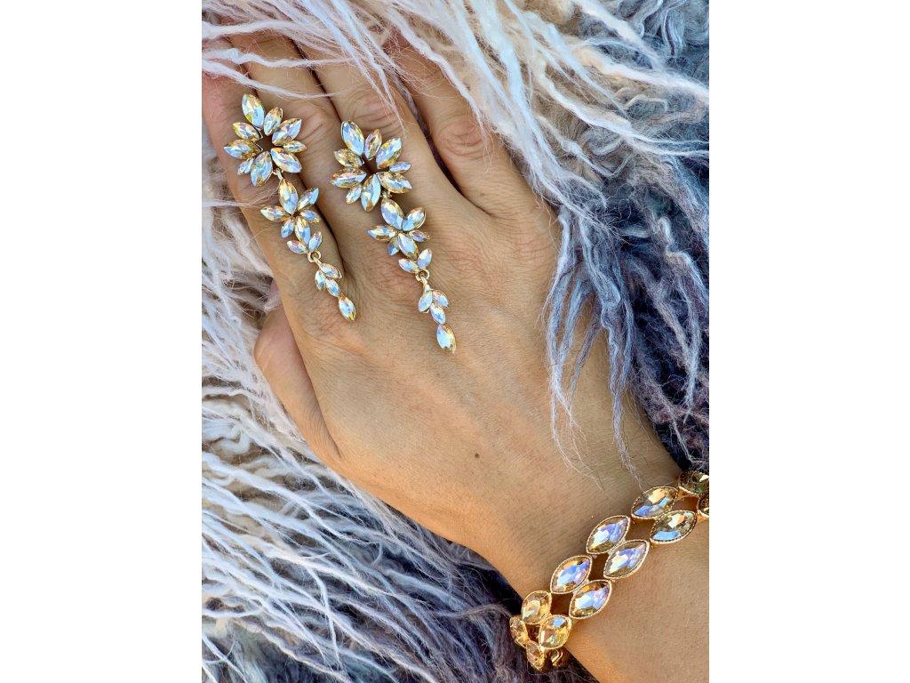 Kamienkové náušnice Flower gold
