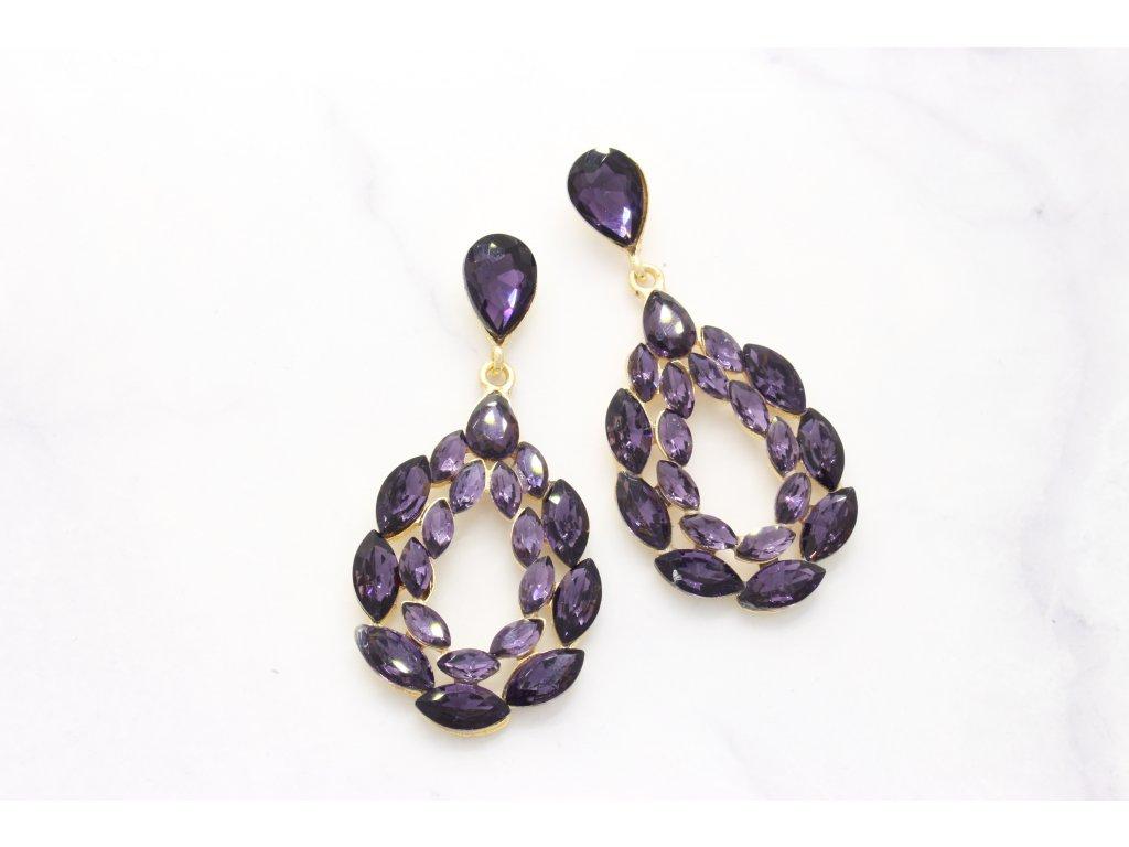 Kamienkové náušnice Elizabeth purple