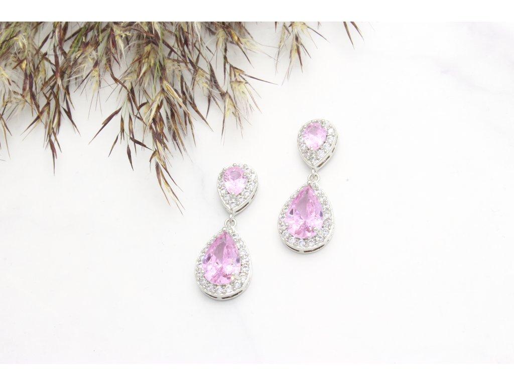Exkluzívne náušnice Addison Crystal Quality Pink