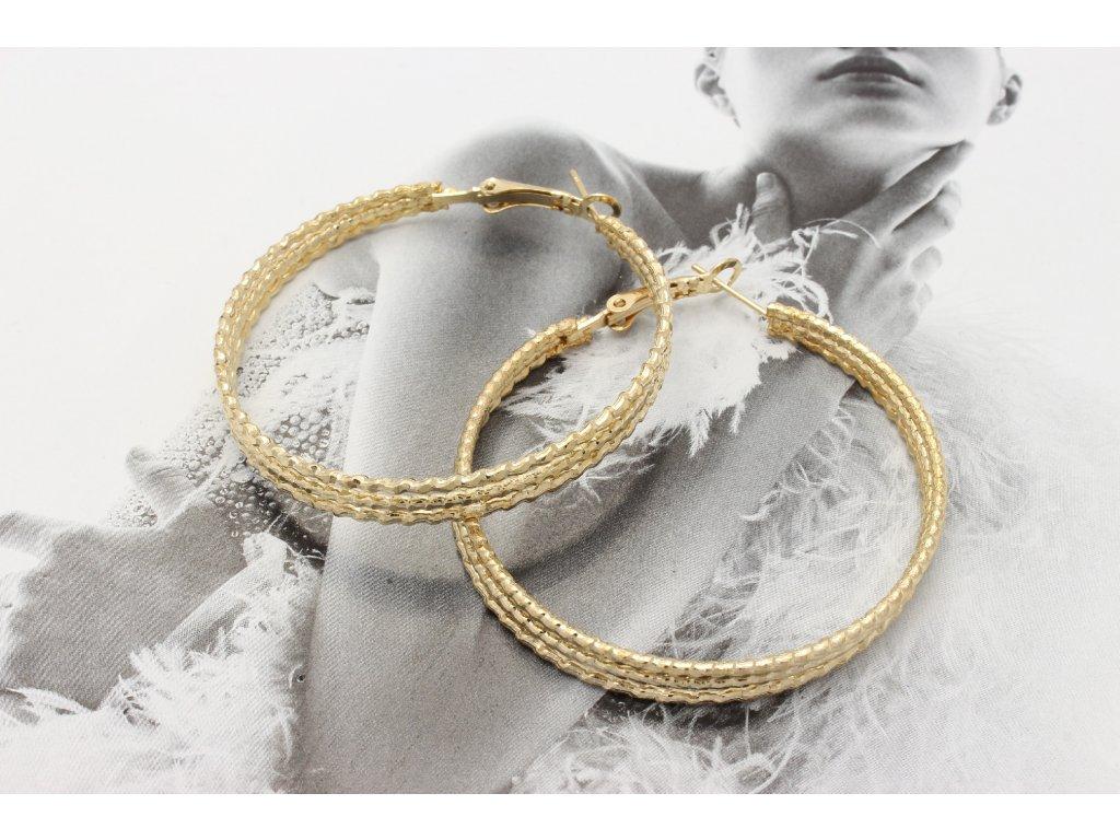 Zlaté trojité kruhy 4,5 cm
