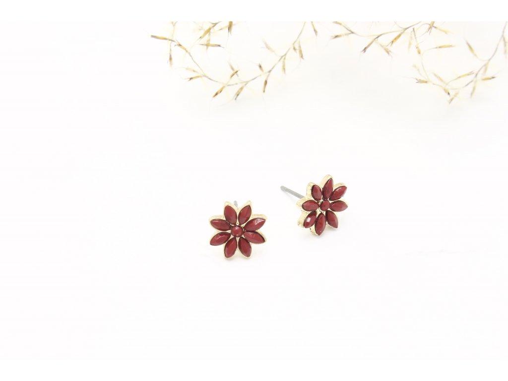 Napichovacie náušnice bordový kvet