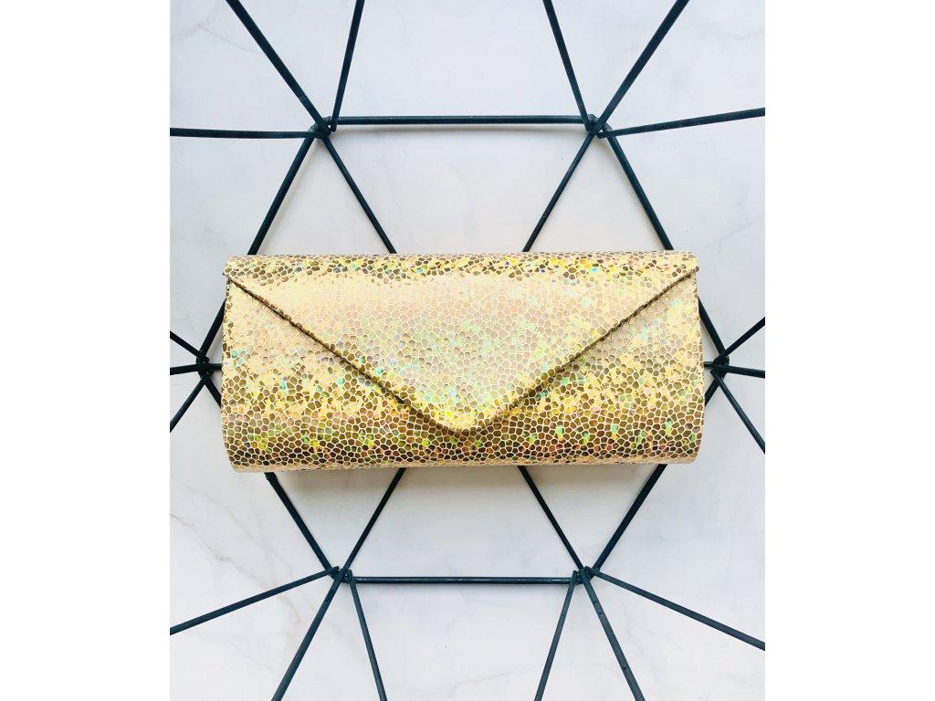 Spoločenská kabelka s holografickou potlačou zlatá