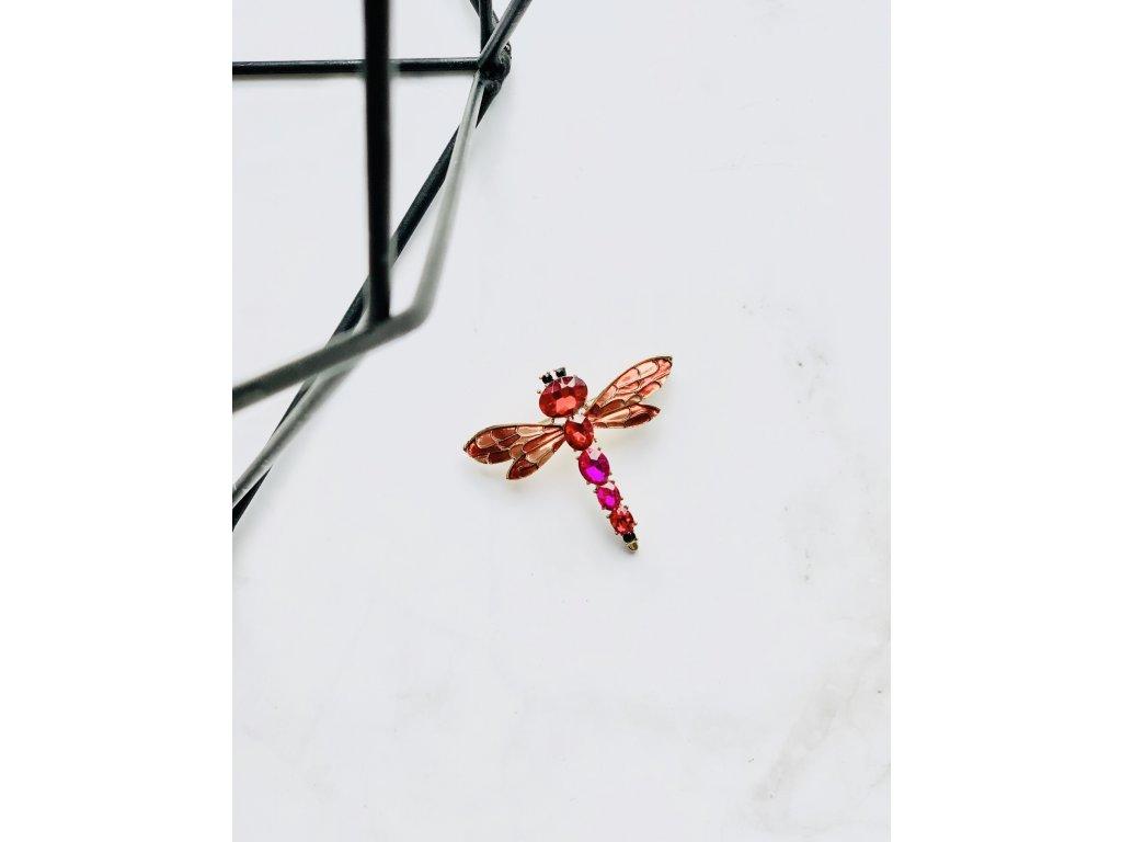 Brošňa červeno cyklámenová vážka